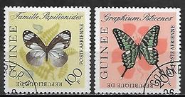 GUINEE   -   Aéros   -   1963 .  Y&T N° 32 à 33 Oblitérés.   Papillons - Guinea (1958-...)