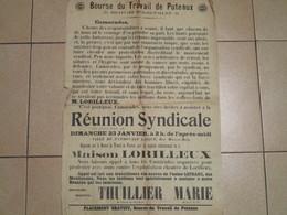 C.G.T. - Réunion Syndicale à La Bourse Du Travail De Puteaux - Affiches