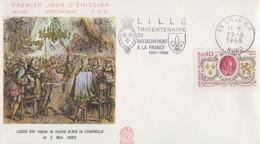 Enveloppe  FDC   FRANCE  Flamme   1er   Jour    Rattachement  De  LILLE  à  La  France  1968 - FDC