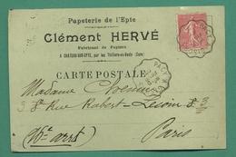 Cachet Ambulant Pacy à Gisors 27 ( Eure ) Chateau Sur Epte Par Thilliers En Vexin Hervé Clément Papeterie 1907 - Railway Post