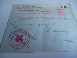 ENVELOPPE EN FM  AUMONERIE DES PRISONNIER DE GUERRE CACHET CROIX ROUGE ET SIGNATURE DU CAPITAINE AUMONIER - 1939-45