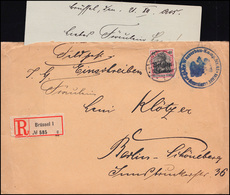 Belgien 5 Germania Mit Aufdruck R-Brief WASSERBAU-KOMP. 41 Von Brüssel 21.12.15 - Occupation 1914-18