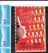"""Erinnophilie: Vignette Adhésive  12 X 8 """" Le Souffle C'est La Vie ( Avec 20f  1987-88) - Antituberculeux"""