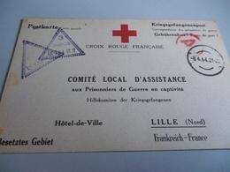 CARTE CROIX ROUGE FRANCAISE COMITE ASSISTANCE AUX PRISONNIERS DE GUERRE EN CAPTIVITE POUR HOTEL DE VILLE DE LILLE - 1939-45