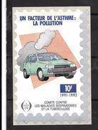 """France: Grande Vignette De 12 X 8 Cm (Un Facteur De L'asthme""""la Pollution ,10f De 1991/92) - Antituberculeux"""