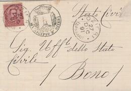 Ozieri. 1891. Annullo Grande Cerchio OZIERI (SASSARI) + Bollo MUNICIPIO DI OZIERI, Su Lettera Affrancata, Senza Testo - 1878-00 Umberto I