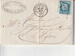 Chalon Sur Saone 1872 Au Dos Lyon Charvet&granger Fabrique De Vinaigres De Bourgogne - Storia Postale