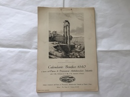 CALENDARIO BENEFICO 1940 MONUMENTI ROMA  OPERA ANTITUBERCOLARE OLGIATE OLONA - Big : 1921-40
