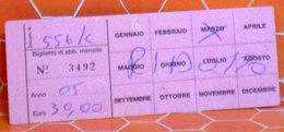 ITALIA Bus Ticket Piemonte GELOSOBUS Canelli (Asti) Abbonamento Mensile - Usato 2005 - Europa