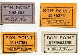 Lot De 4 Bon Point Scolaire école écriture Orthographe Sagesse Et Lecture De La Marque De Chocolat Poulain - Documentos Antiguos