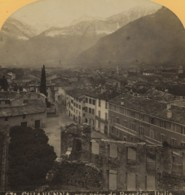 Italie Chiavenna Hotel Conradi Panorama Ancienne Photo Stereo Gabler 1880 - Stereoscopic