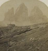 Italie Dolomites Tre Cime Di Lavaredo Drei Zinnen Refuge Ancienne Photo Stereo Gratl 1890 - Stereoscopic