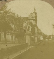 Espagne Cadix Alameda Apodaca Iglesia Del Carmen Ancienne Photo Stereo 1860 - Photos Stéréoscopiques