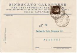 AG8102 CATANZARO SINDACATO CALABRESE INFORTUNI SUL LAVORO X PIZZONI - Storia Postale