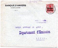 OC3 Sur Lettre (courrier Bancaire) D'Antwerpen Vers Liège - [OC1/25] General Gov.