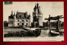 CPA 37 Chenonceaux Le Château La Façade La Tour Des Marques Et Le Pont Levis Ed LL 14 - CAD 1-08-1909 H. Droguet ? Paris - Chenonceaux