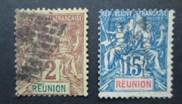 REUNION Lot De 2 Timbres Oblitération Losange Et Variété Décalage COLONIES FRANCAISES FRANCE - Réunion (1852-1975)