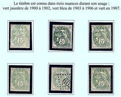 """Blanc N° Y.T 111 (x 6) 5 */** + 1 Oblitéré """"jour De L'an"""" (nuances) - 1900-29 Blanc"""
