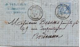 Blanquefort 1876 Gironde - Lettre Avec Sage 25 Cts Type 1 - Marcophilie (Lettres)