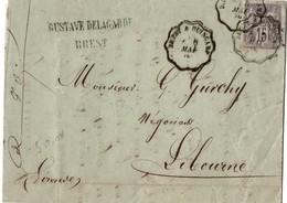 Brest à Guingamp 1878 - Ambulant Sur Sage - Railway Post