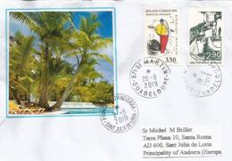 île De Saint-Martin (Antilles Françaises), LETTRE Adressée Andorra 2019, Avec Timbre à Date Arrivée - West Indies