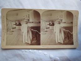 "PHOTO STEREO  AMIRAL GEORGE  DEWEY ( 1837-1917 ) Sur Son Bâtiment ""Olympia"" - 1899 - Underwood - Stereoscopic"