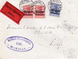 OC3 (2) Et 4 Sur Lettre Par Exprès Vers Liège - Griffe NACH PRÜFUNG GESCHLOSSEN ZUGELASSEN Au Dos - [OC1/25] General Gov.