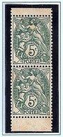 Blanc N° Y.T 111f Paire Verticale De Carnet ** - 1900-29 Blanc