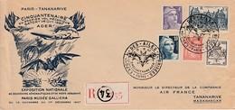 PARIS TANANARIVE 1947 - Cinquantenaire 1er Vol ADER - AIR FRANCE - Les Ailes Brisées - Poste Aérienne