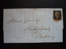 United Kingdom Royaume-Uni Lettre 27.8.1840 Penny Black, RARR!! (Stanley Gibbons 2plate2), Dispached London, L.S. - 1840 Mulready-Umschläge