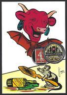 CPM Timbre Monnaie Tirage Limité 12 Ex Numérotés Signés Non Circulé Vache Qui Rit Absinthe Souris Mouse - Stamps (pictures)