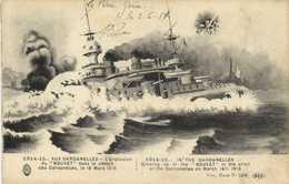 """1914 15 AUX DARDANELLES  L'Explosion Du """" BOUVET"""" Dans Le Detroit Des Dardanelles Le 18 Mars 1915  RV - Guerre 1914-18"""