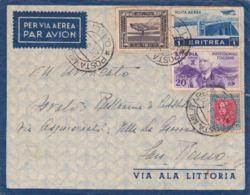 1937 POSTA MILITARE/ O. 1. L. C2 (26.3) Su Busta Via Aerea Affrancata Etiopia C.20 + Somalia C.10 + Eritrea C.20 E Posta - Erythrée