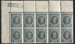 HOUYOUX - N°193 Xx/x Bloc De 10 Cdf Marque DEPOT 1926. Coin De Feuille - 1922-1927 Houyoux