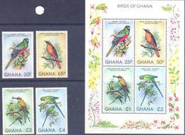 1981. Ghana, Birds Of Ghana, 4v + S/s, Mint/** - Ghana (1957-...)