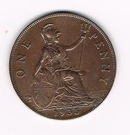 -&  GREAT BRITAIN  1 PENNY 1935 GEORGES V - 1902-1971 : Monnaies Post-Victoriennes