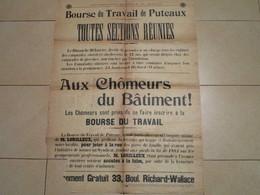 C.G.T. - Bourse Du Travail De Puteaux - TOUTES SECTIONS REUNIES - Aux Chômeurs Du Batiment - Affiches