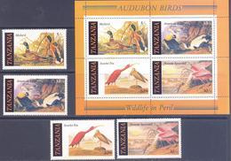 1985. Tanzania, Audubon Birds, Wildlife In Peril, 4v + S/s, Mint/** - Tansania (1964-...)