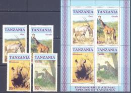 1986. Tanzania, Endangered Animals Species Of Tanzania, 4v + S/s, Mint/** - Tansania (1964-...)