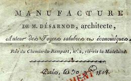 PARIS 1808 ARCHITECTE DESANORD MANUFACTURE DE FOYERS SALUBRES ENTETE Pour Gand SUPERBE !! - France