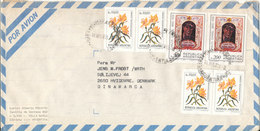 Argentina Air Mail Cover Sent To Denmark 19-8-1985 Topic Stamps Flowers - Poste Aérienne