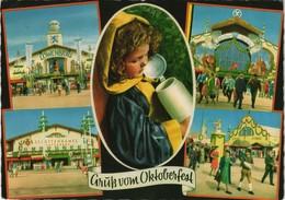 Ansichtskarte München Oktoberfest Münchner Kindl Festzelte Uvm. 1973   Mit Festzeltstempel Armbrüster-Zelt - Muenchen