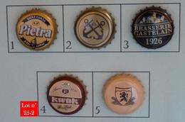 Lot N° 25-2 : 5 Capsules De Bière (parfait état - Pas De Trace De Décapsuleur) - Bier