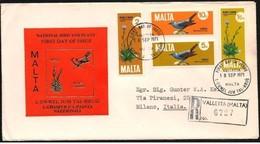 Malta/Malte: Raccomandata, Registered, Recommandé. Passero Solitario, Blue Rock Thrush, Monticole Bleu - Moineaux