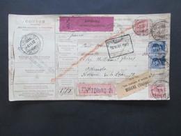 Italien 1912 Auslandspaketkarte Zusatzfrankaturen Und Vielen Stempeln Torino - Ostende Klebezettel Assegno Remboursent - Paketmarken