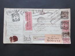Italien 1913 Auslandspaketkarte Zusatzfrankaturen Und Vielen Stempeln Alessandria -Ostende Klebezettel Valore Dichiarato - Paketmarken