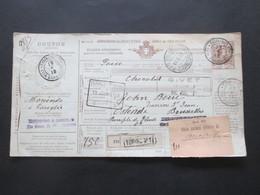Italien 1913 Auslandspaketkarte Zusatzfrankaturen Und Vielen Stempeln Torino - Ostende Klebezettel Ufizio Italiano - Paketmarken