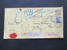 Italien 1912 Auslandspaketkarte Zusatzfrankaturen Und Vielen Stempeln Genova - Ostende Klebezettel Ufizio Italiano - Paketmarken