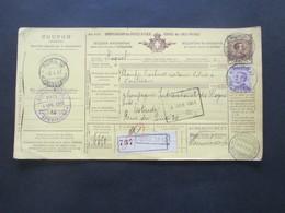 Italien 1911 Auslandspaketkarte Zusatzfrankaturen Und Vielen Stempeln Roma Cancelleria - Ostende Roma Spedioni - Paketmarken