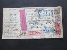 Italien 1911 Auslandspaketkarte Zusatzfrankaturen Viele Stempel Sorrento - Ostende Klebezettel Assegno Remboursement - Paketmarken